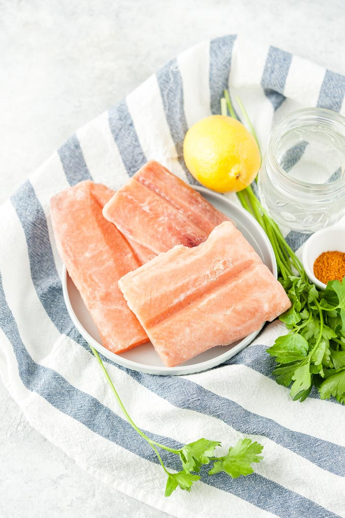 All the ingredients to make Instant Pot Poached Salmon.