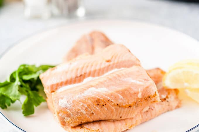 Poached Salmon on a plate.
