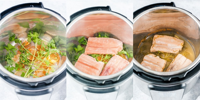 Collage of process photos making Instant Pot Poached Salmon.