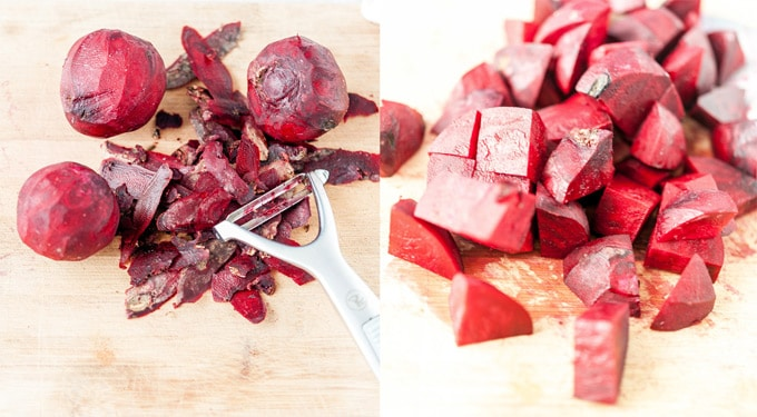 Collage of process photos showing how to peel and cut beets for cooking.