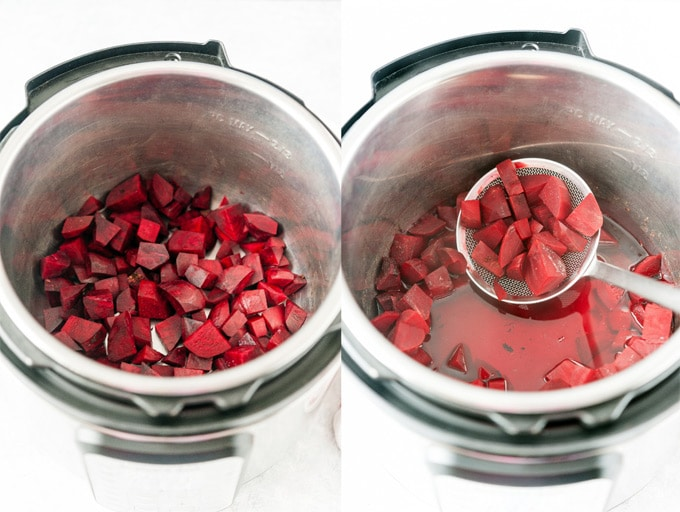 Collage of process photos showing beets in Instant Pot.