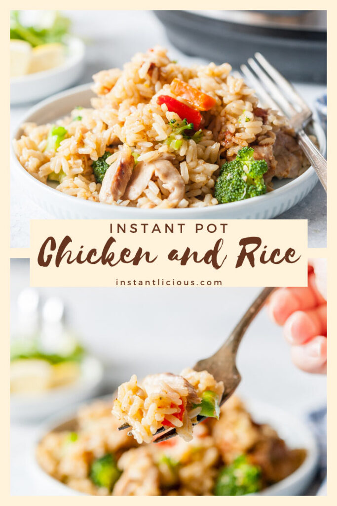Instant Pot Chicken and Rice is a complete meal cooked together. Easy and delicious for weeknight dinner. Using parboiled rice is great for meal prepping as the grains keep separate even after reheating | instantlicious.com #instantpot #instantpotchicken #chickenandrice