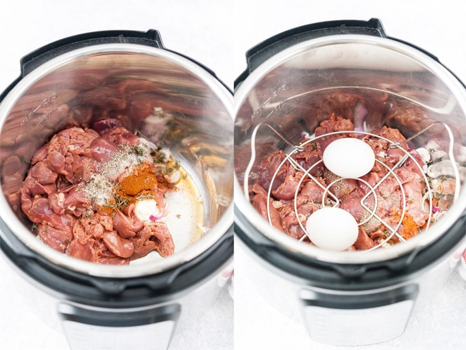 Collage of two process shots showing how to layer ingredients in Instant Pot to make Chopped Liver.