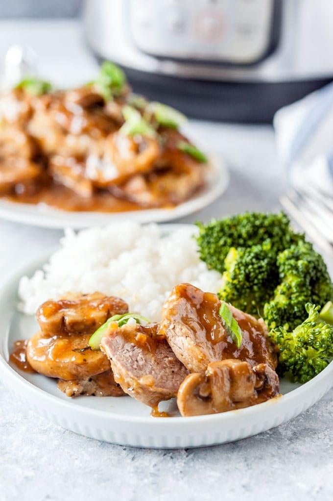 Closeup of Pork Tenderloin with Mushroom Sauce.