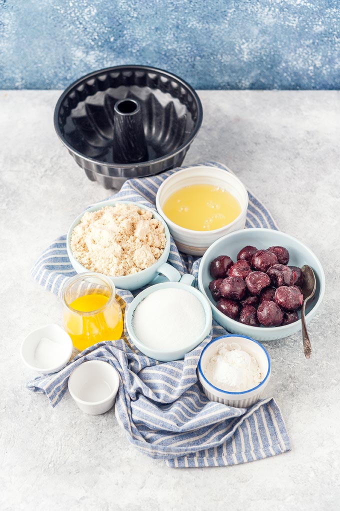 All the ingredients to make Instant Pot Almond Cherry Cake.
