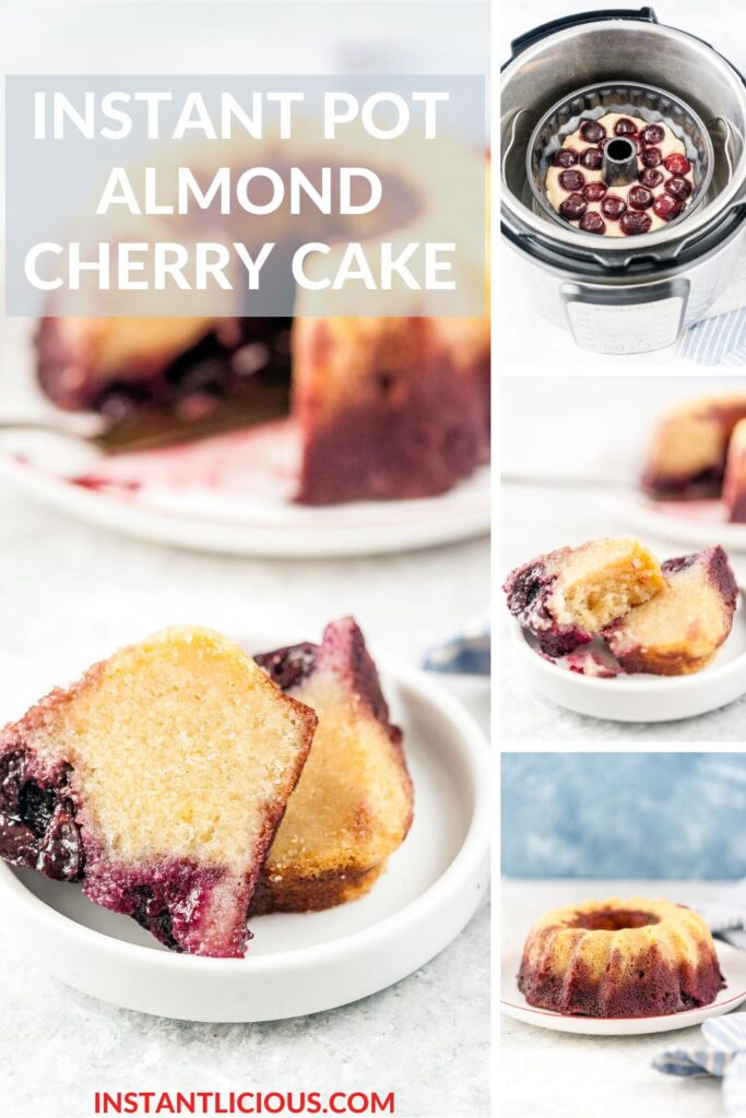 Instant Pot Almond Cherry Cake is delicious, easy to make, and gluten-free. Batter only takes a few minutes to mix together. The cake is soft, sweet, and beautiful | instantlicious.com #instantpot #instantpotcake #almondcake #glutenfreecake