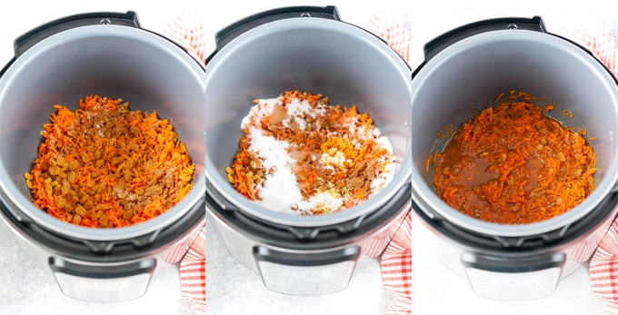 Collage of process photos showing how to make Carrot Cake Jam in Instant Pot.