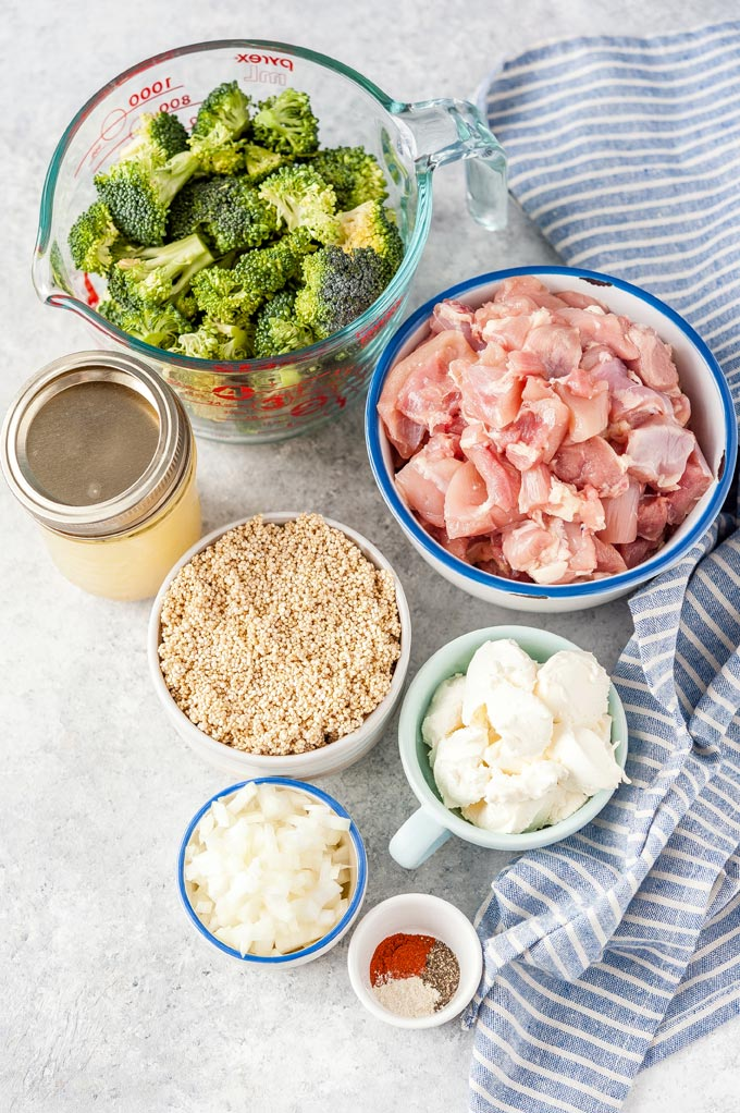 All the ingredients to make Instant Pot Chicken and Quinoa