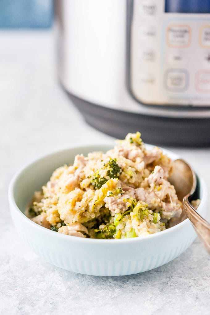 Bowl of Chicken and Quinoa with Broccoli.