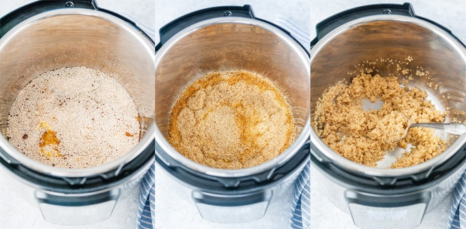 Collage of process photos showing how to make Lemon Quinoa in Instant Pot.