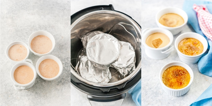Process photos showing how to make Carrot Cake Creme Brulee in Instant Pot.