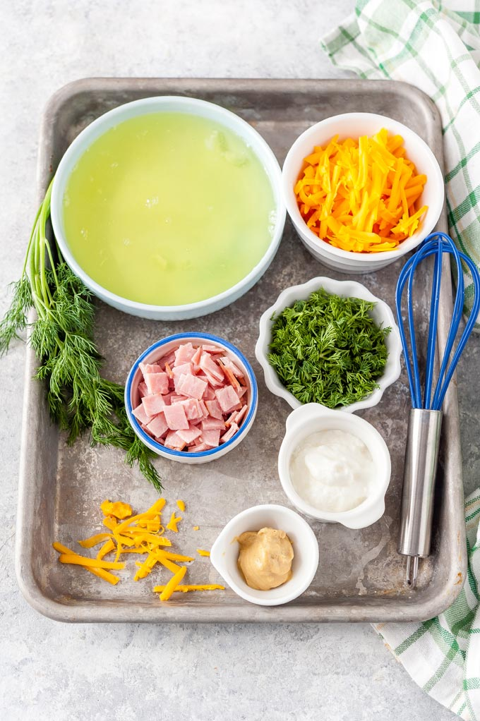 All the ingredients to make Instant Pot Ham and Cheese Egg White Bites.