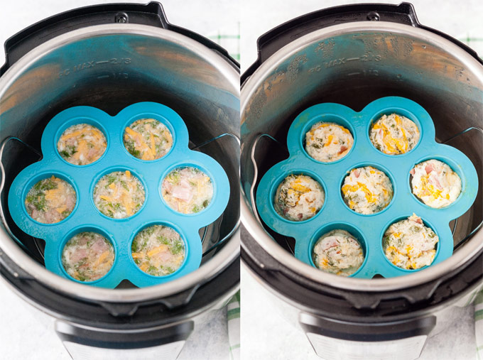 Collage of process photos showing the egg bites in a mould in Instant Pot before and after being cooked.